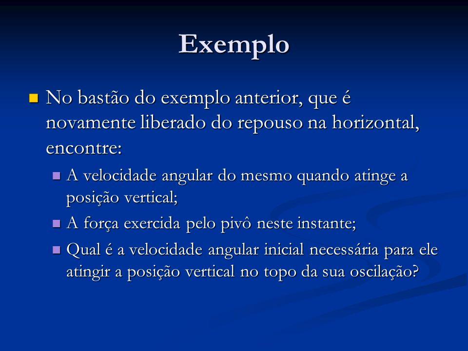 Exemplo No bastão do exemplo anterior, que é novamente liberado do repouso na horizontal, encontre: No bastão do exemplo anterior, que é novamente lib