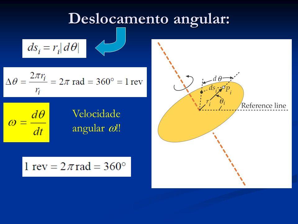 Deslocamento angular: Velocidade angular !!