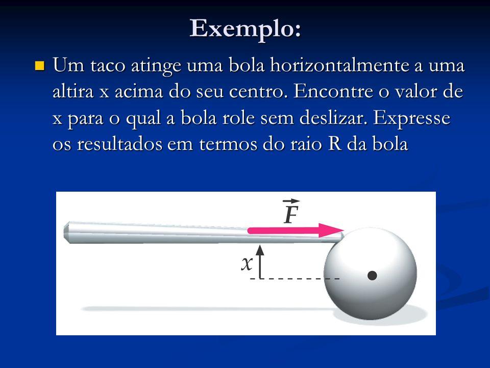 Exemplo: Um taco atinge uma bola horizontalmente a uma altira x acima do seu centro. Encontre o valor de x para o qual a bola role sem deslizar. Expre