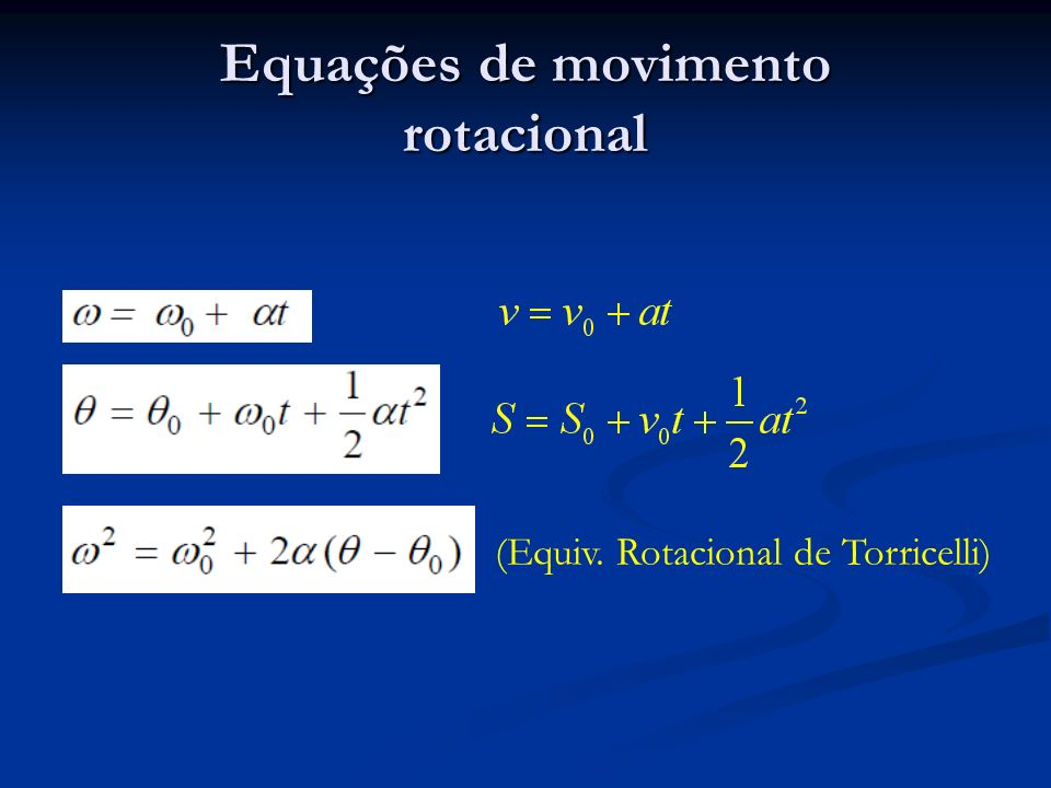 Exemplo No bastão do exemplo anterior, que é novamente liberado do repouso na horizontal, encontre: No bastão do exemplo anterior, que é novamente liberado do repouso na horizontal, encontre: A velocidade angular do mesmo quando atinge a posição vertical; A velocidade angular do mesmo quando atinge a posição vertical; A força exercida pelo pivô neste instante; A força exercida pelo pivô neste instante; Qual é a velocidade angular inicial necessária para ele atingir a posição vertical no topo da sua oscilação.