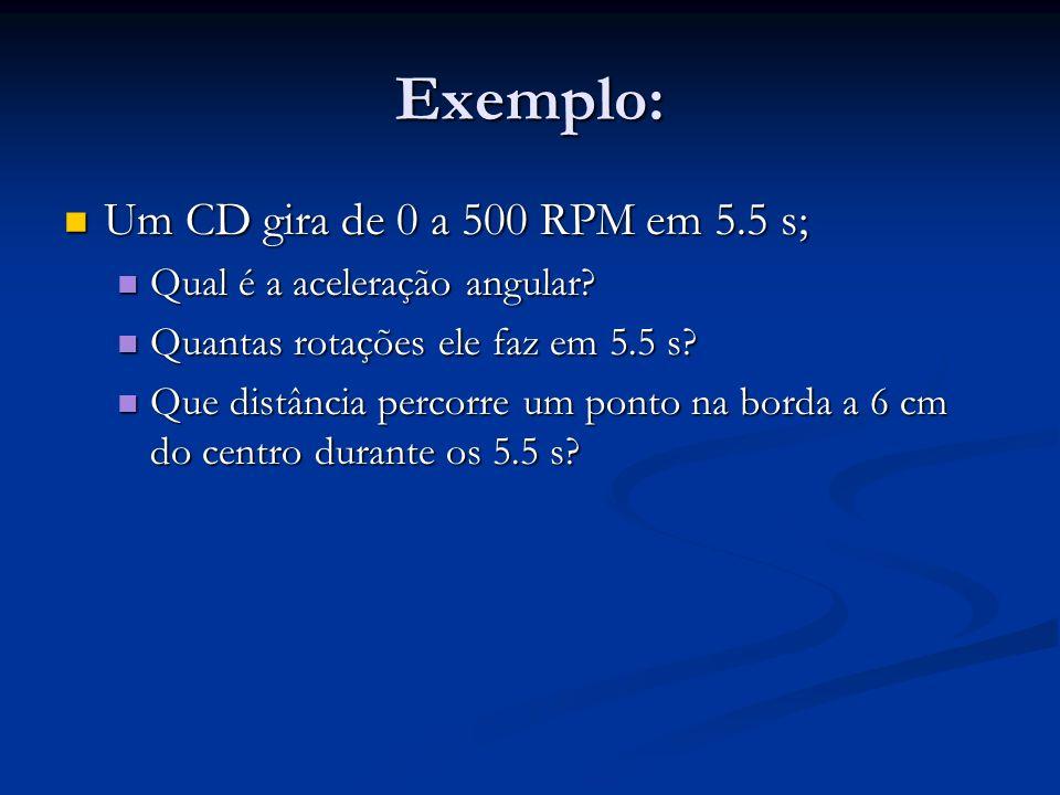 Exemplo: Um CD gira de 0 a 500 RPM em 5.5 s; Um CD gira de 0 a 500 RPM em 5.5 s; Qual é a aceleração angular? Qual é a aceleração angular? Quantas rot