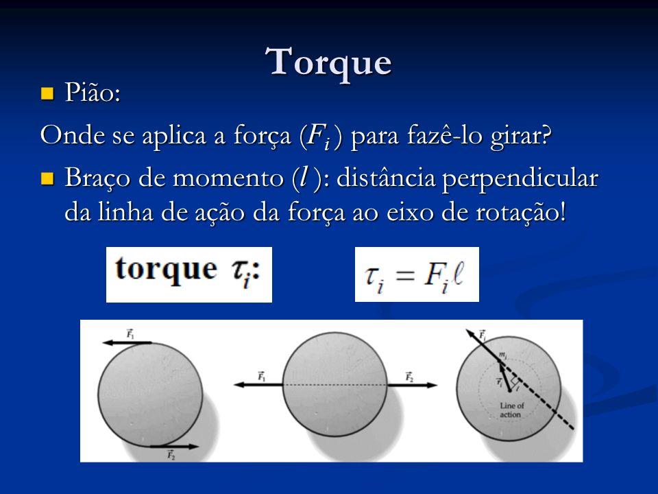 Torque Pião: Pião: Onde se aplica a força ( F i ) para fazê-lo girar? Braço de momento ( l ): distância perpendicular da linha de ação da força ao eix