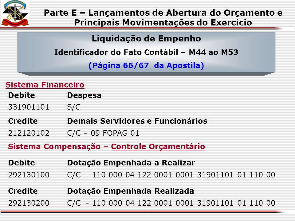 CrediteProgramação de Desembolso Mensal Disponível 193110102C/C - 01 000 00 1 01.... Emissão de Empenho Identificador do Fato Contábil – M34 ao M43 (P