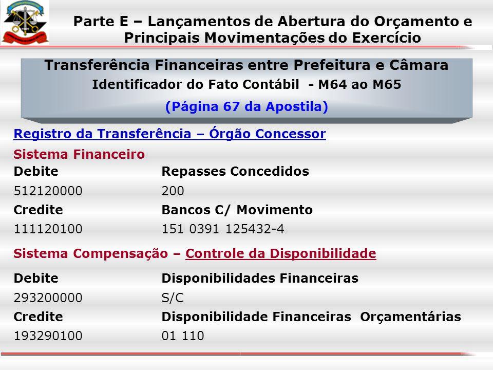 Transferência Financeiras entre Prefeitura e Câmara Identificador do Fato Contábil - M64 ao M65 (Página 67 da Apostila) CrediteCronograma de Desembols