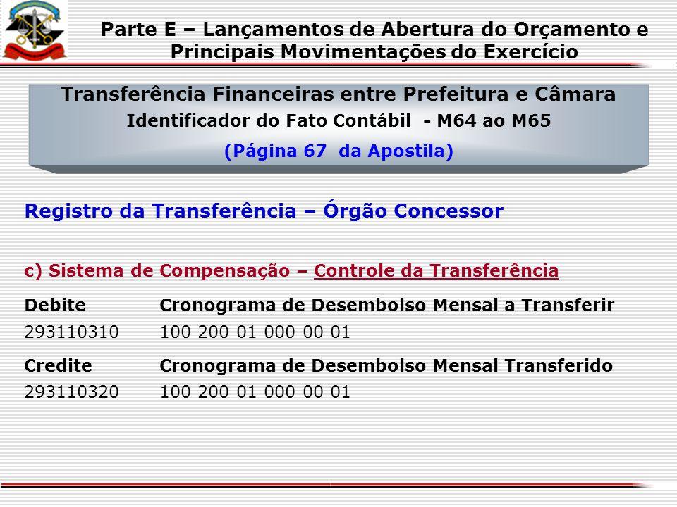 Transferência Financeiras entre Prefeitura e Câmara Identificador do Fato Contábil - M64 ao M65 (Página 67 da Apostila) DebiteDisponibilidades Finance
