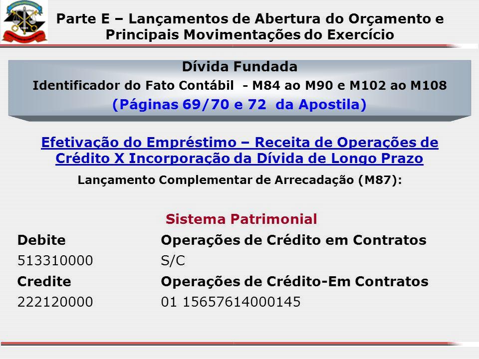 Dívida Fundada Identificador do Fato Contábil - M84 ao M90 e M102 ao M108 (Páginas 69/70 e 72 da Apostila) Assinatura do Contrato de Empréstimo Sistem
