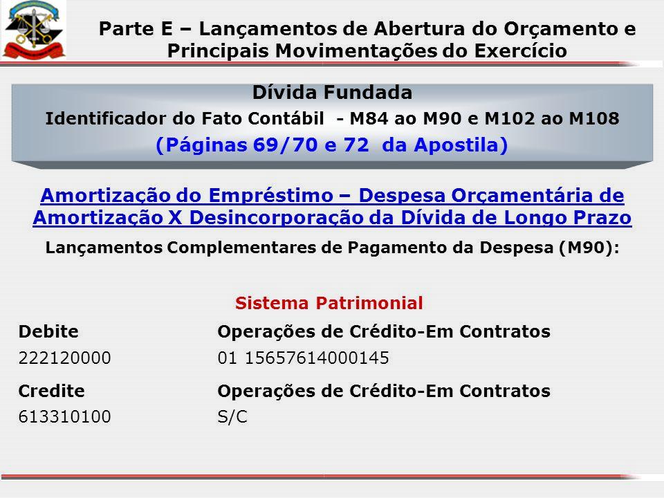 Dívida Fundada Identificador do Fato Contábil - M84 ao M90 e M102 ao M108 (Páginas 69/70 e 72 da Apostila) Efetivação do Empréstimo – Receita de Opera