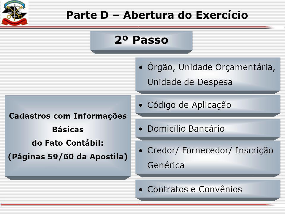 Parte D – Abertura do Exercício Estrutura de Códigos Audesp Detalhamento da Conta Contábil por Conta Corrente; 1º Passo NOVIDADES: Controle da Disponi