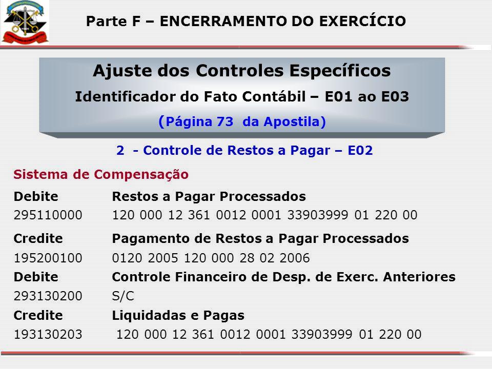Sistema de Compensação DebiteValores Títulos e Bens sob Responsabilidade 299100000S/C CrediteBaixa de Adiantamentos Valor Utilizado 19911060202 015125