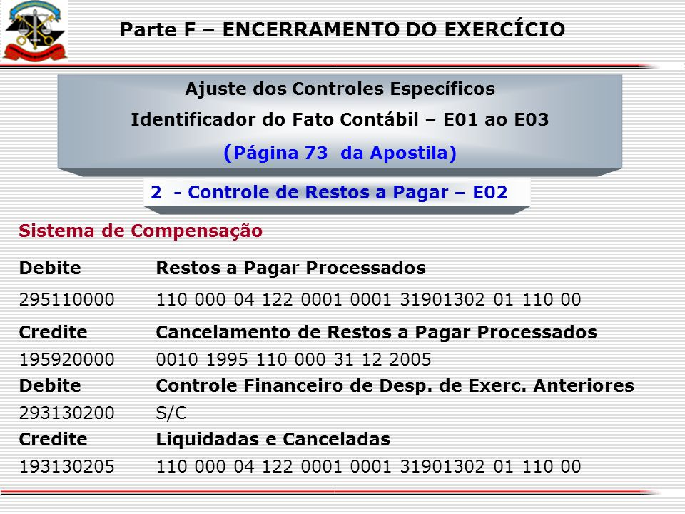 Sistema de Compensação DebiteRestos a Pagar Processados 295110000120 000 12 361 0012 0001 33903999 01 220 00 CreditePagamento de Restos a Pagar Proces