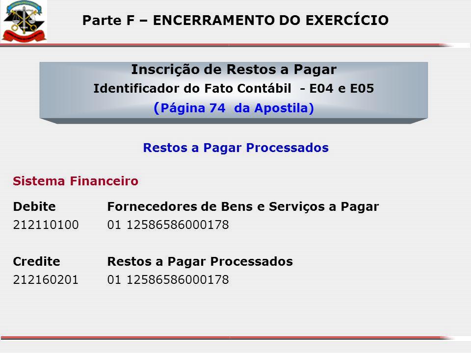 Sistema de Compensação DebiteRestos a Pagar Processados 295110000110 000 04 122 0001 0001 31901302 01 110 00 CrediteCancelamento de Restos a Pagar Pro