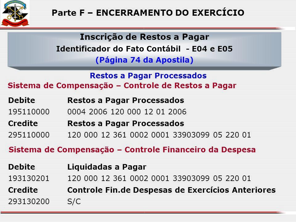 Sistema Financeiro DebiteFornecedores de Bens e Serviços a Pagar 21211010001 12586586000178 CrediteRestos a Pagar Processados 21216020101 125865860001