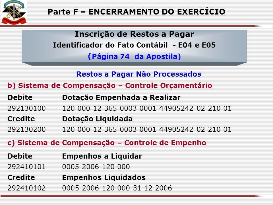 a) Sistema Financeiro DebiteMobiliário Geral 344905242S/C CrediteRestos a Pagar Não Processados – a Liquidar 21216020201 58685861000156 Inscrição de R