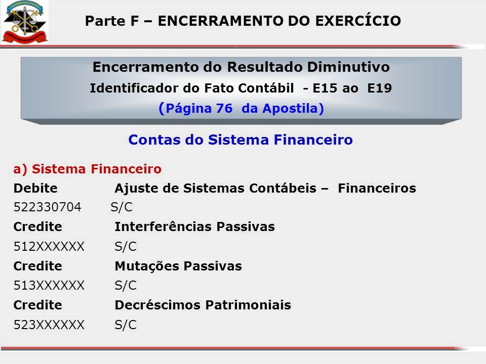 DebiteResultado do Exercício 631000000S/C CrediteDespesa Orçamentária 511XX0000S/C CrediteMutações Passivas 513XXXXXXS/C CrediteDecréscimos Patrimonia