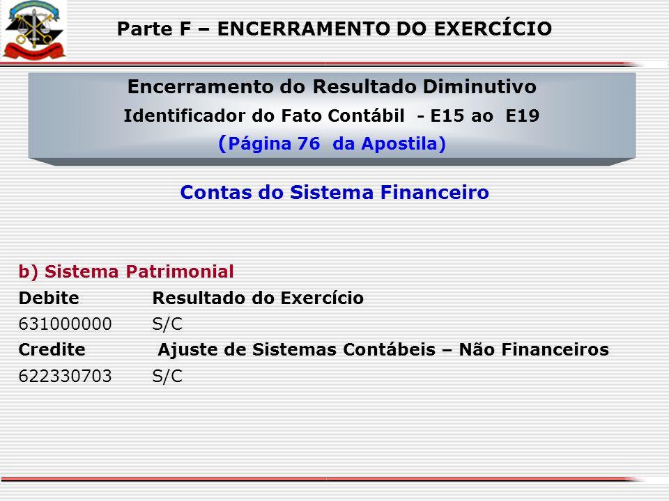 a) Sistema Financeiro Debite Ajuste de Sistemas Contábeis – Financeiros 522330704S/C Credite Interferências Passivas 512XXXXXX S/C Credite Mutações Pa