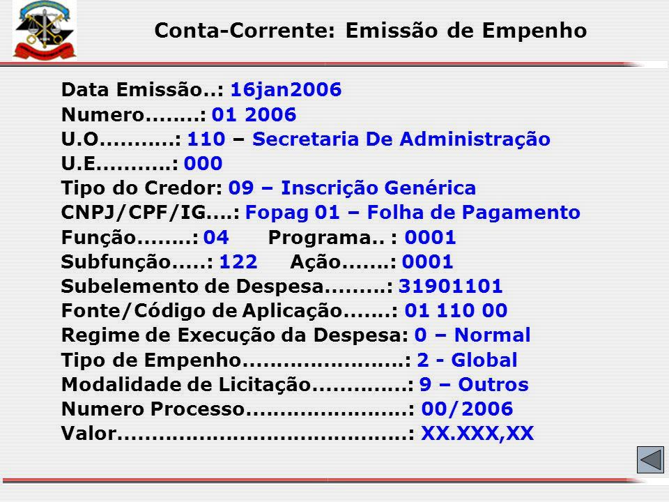 Conta-Corrente: Emissão de Empenho 01 11000 09 fopag01 0 9 00/2006 02/01/2006 Data de emissão Nº da Licitação/Processo Modalidade de Licitação Regime