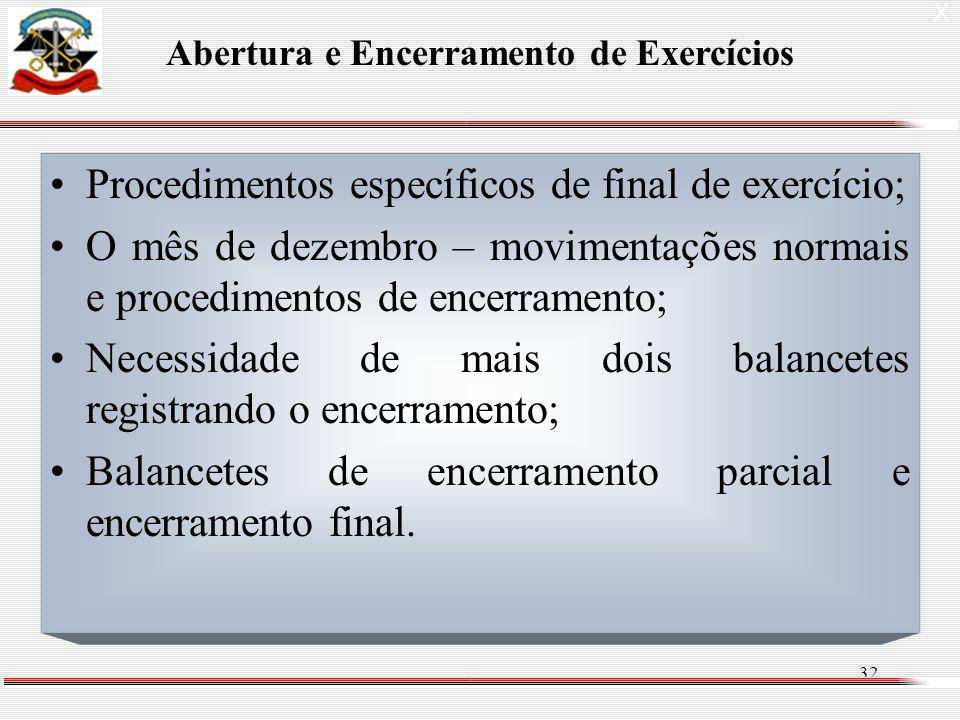 32 Procedimentos específicos de final de exercício; O mês de dezembro – movimentações normais e procedimentos de encerramento; Necessidade de mais dois balancetes registrando o encerramento; Balancetes de encerramento parcial e encerramento final.