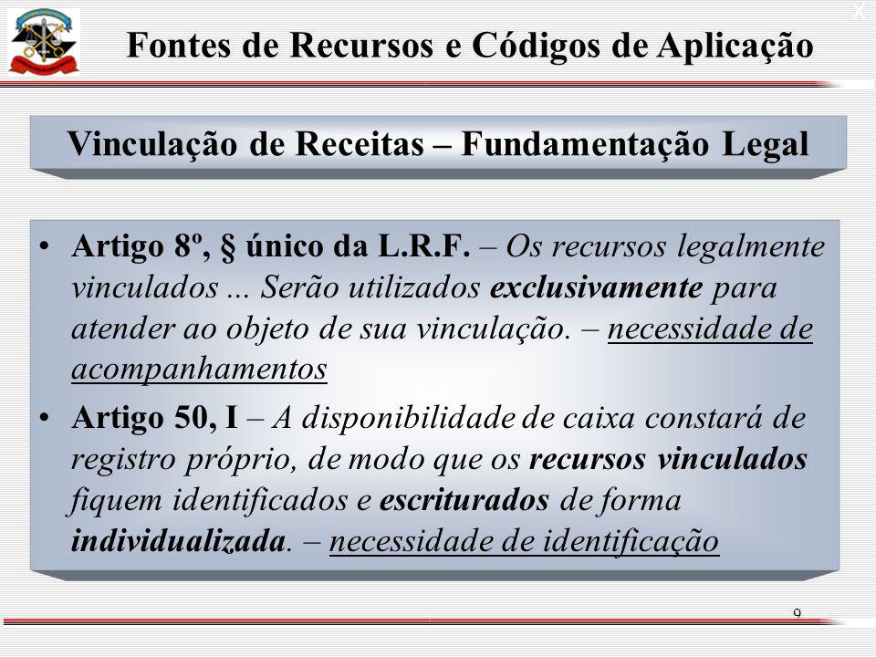 9 Artigo 8º, § único da L.R.F. – Os recursos legalmente vinculados...