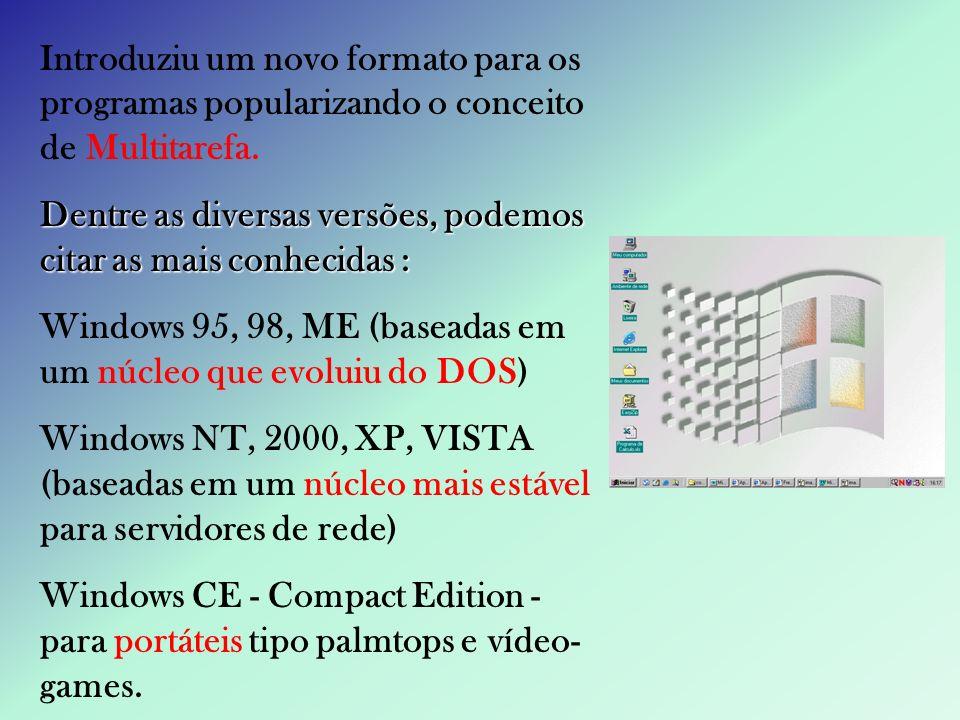 Introduziu um novo formato para os programas popularizando o conceito de Multitarefa. Dentre as diversas versões, podemos citar as mais conhecidas : W