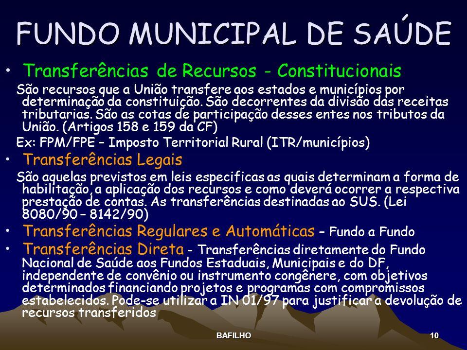 BAFILHO 10 FUNDO MUNICIPAL DE SAÚDE Transferências de Recursos - Constitucionais São recursos que a União transfere aos estados e municípios por deter