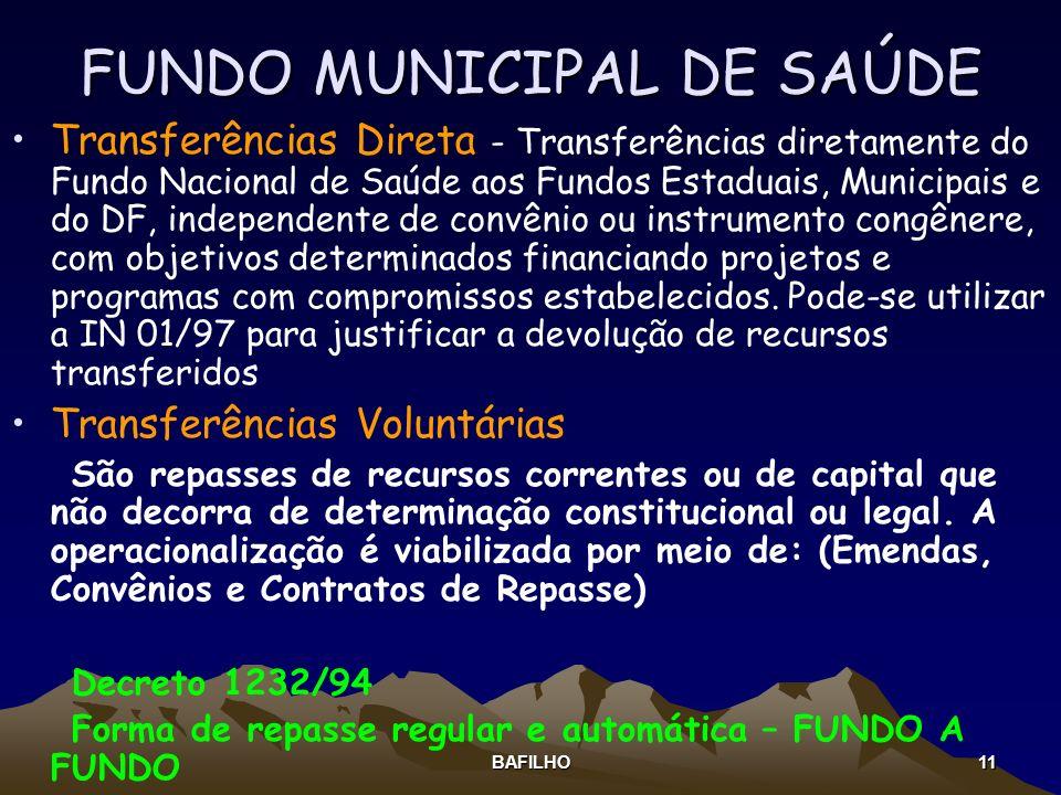 BAFILHO 11 FUNDO MUNICIPAL DE SAÚDE Transferências Direta - Transferências diretamente do Fundo Nacional de Saúde aos Fundos Estaduais, Municipais e d