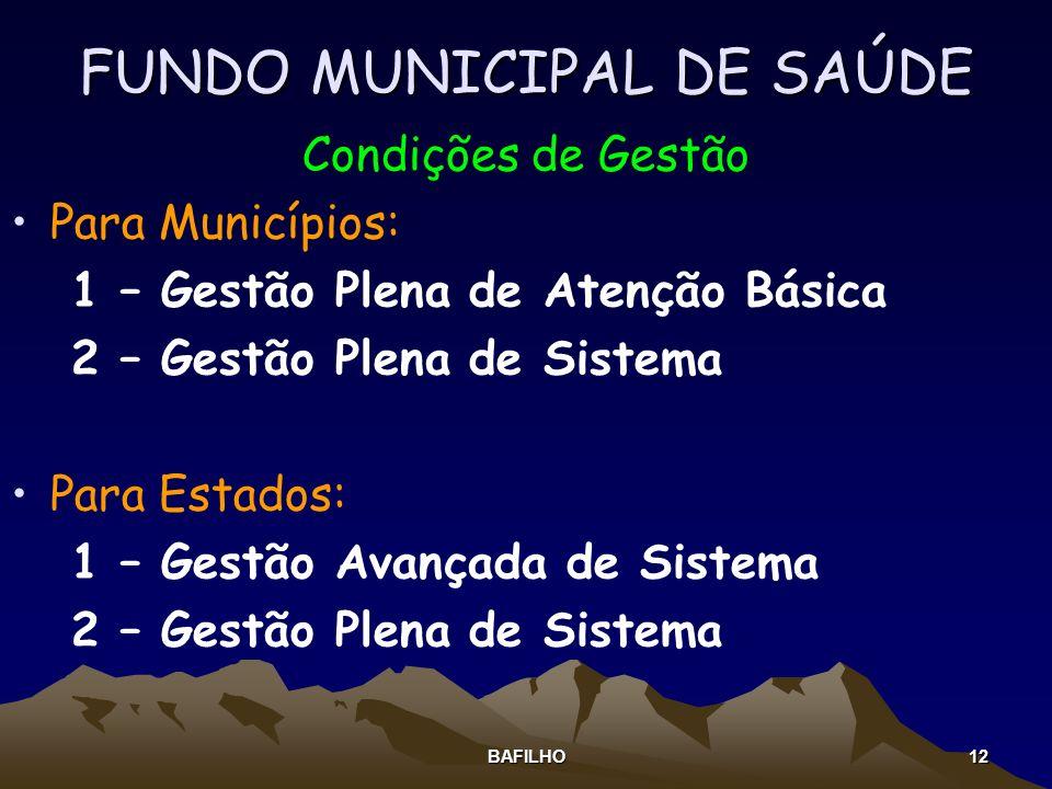 BAFILHO 12 FUNDO MUNICIPAL DE SAÚDE Condições de Gestão Para Municípios: 1 – Gestão Plena de Atenção Básica 2 – Gestão Plena de Sistema Para Estados: