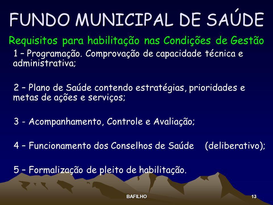 BAFILHO 13 FUNDO MUNICIPAL DE SAÚDE Requisitos para habilitação nas Condições de Gestão 1 – Programação. Comprovação de capacidade técnica e administr