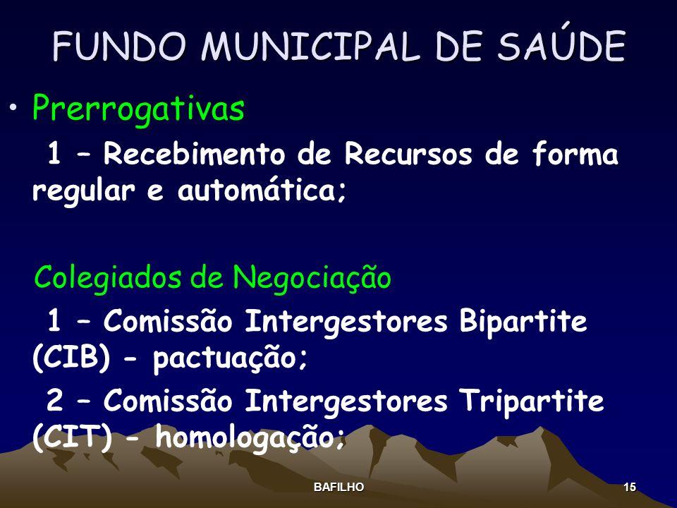 BAFILHO 15 FUNDO MUNICIPAL DE SAÚDE Prerrogativas 1 – Recebimento de Recursos de forma regular e automática; Colegiados de Negociação 1 – Comissão Int