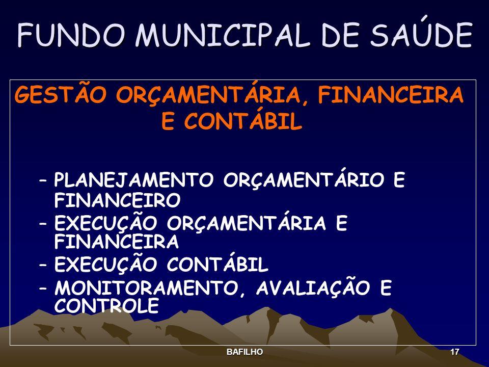 BAFILHO 17 FUNDO MUNICIPAL DE SAÚDE GESTÃO ORÇAMENTÁRIA, FINANCEIRA E CONTÁBIL –PLANEJAMENTO ORÇAMENTÁRIO E FINANCEIRO –EXECUÇÃO ORÇAMENTÁRIA E FINANC