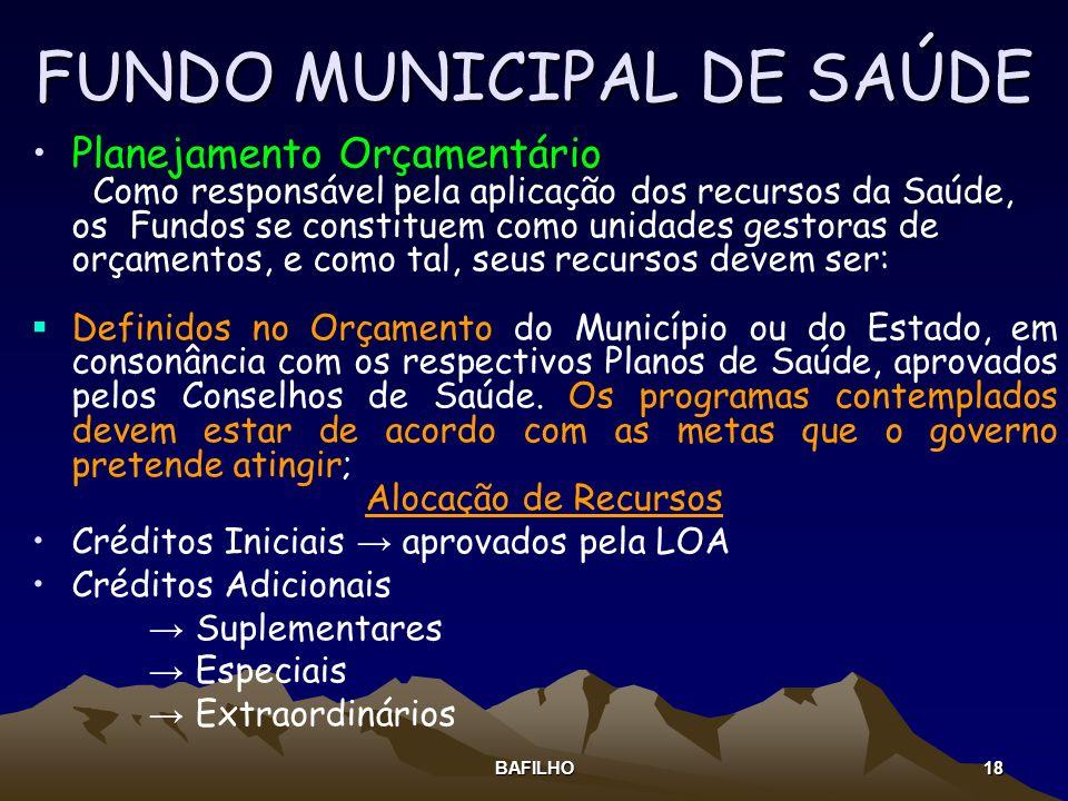 BAFILHO 18 FUNDO MUNICIPAL DE SAÚDE Planejamento Orçamentário Como responsável pela aplicação dos recursos da Saúde, os Fundos se constituem como unid