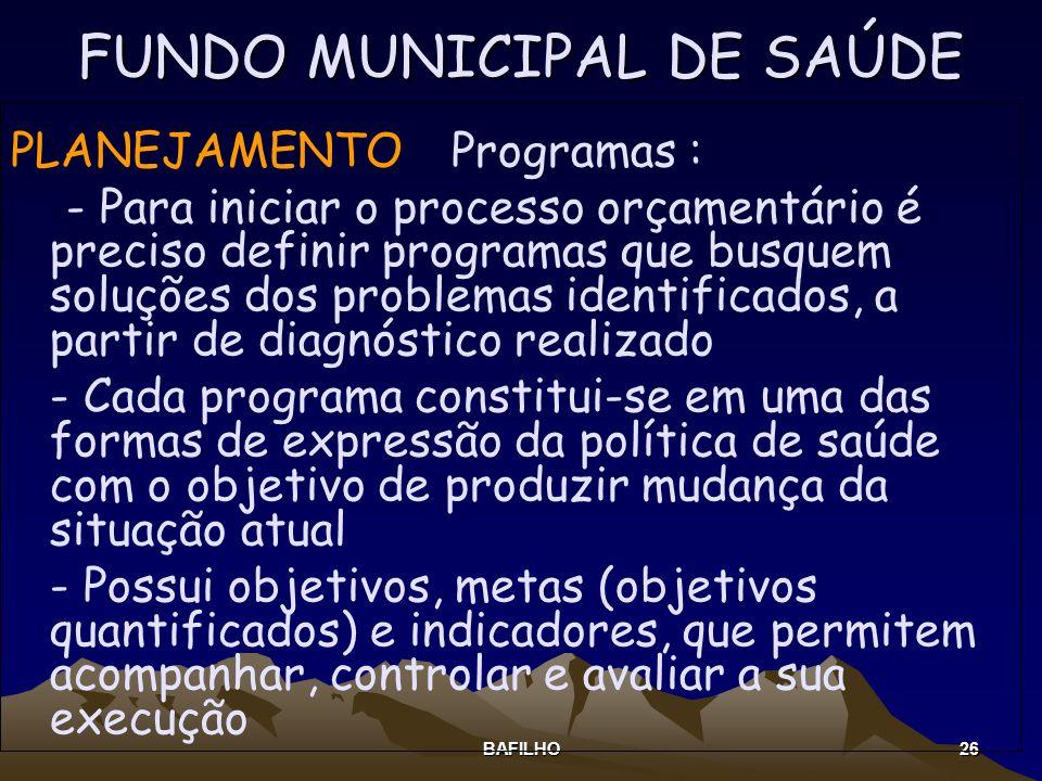 BAFILHO 26 FUNDO MUNICIPAL DE SAÚDE PLANEJAMENTO Programas : - Para iniciar o processo orçamentário é preciso definir programas que busquem soluções d