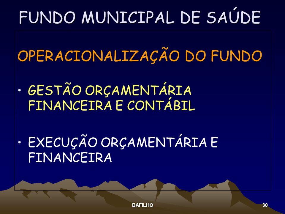 BAFILHO 30 FUNDO MUNICIPAL DE SAÚDE OPERACIONALIZAÇÃO DO FUNDO GESTÃO ORÇAMENTÁRIA FINANCEIRA E CONTÁBIL EXECUÇÃO ORÇAMENTÁRIA E FINANCEIRA