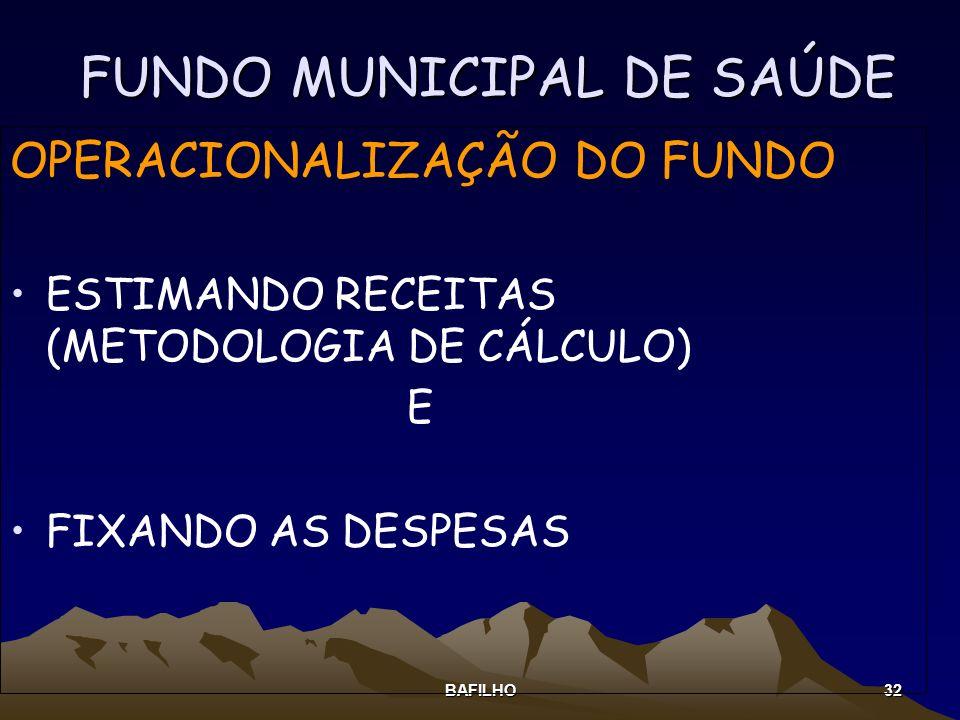 BAFILHO 32 FUNDO MUNICIPAL DE SAÚDE OPERACIONALIZAÇÃO DO FUNDO ESTIMANDO RECEITAS (METODOLOGIA DE CÁLCULO) E FIXANDO AS DESPESAS