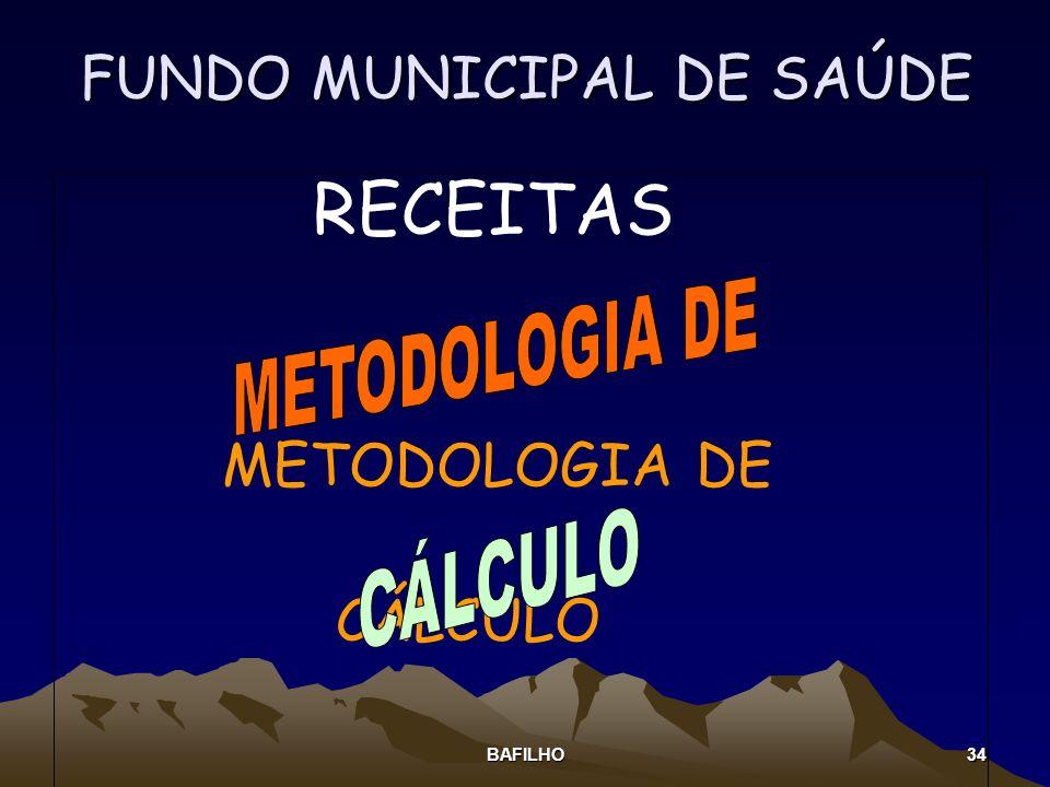 BAFILHO 34 FUNDO MUNICIPAL DE SAÚDE RECEITAS METODOLOGIA DE CÁLCULO
