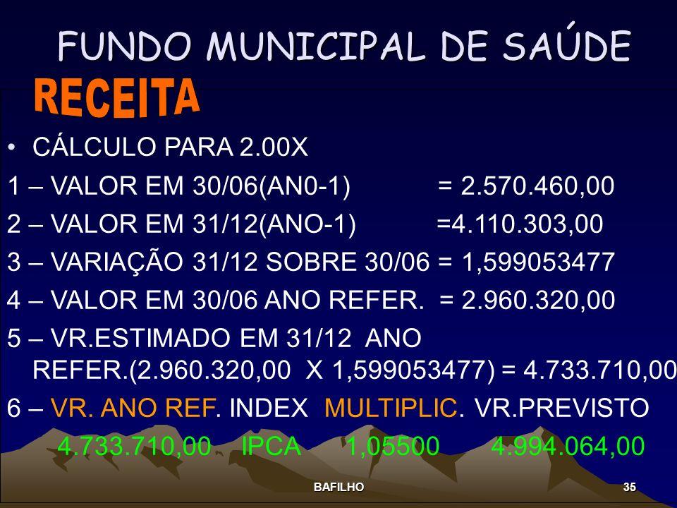 BAFILHO 35 FUNDO MUNICIPAL DE SAÚDE CÁLCULO PARA 2.00X 1 – VALOR EM 30/06(AN0-1) = 2.570.460,00 2 – VALOR EM 31/12(ANO-1) =4.110.303,00 3 – VARIAÇÃO 3