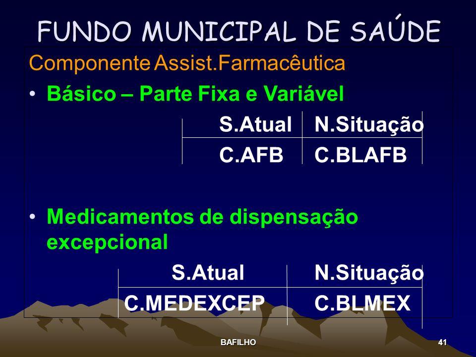 BAFILHO 41 FUNDO MUNICIPAL DE SAÚDE Componente Assist.Farmacêutica Básico – Parte Fixa e Variável S.AtualN.Situação C.AFBC.BLAFB Medicamentos de dispe