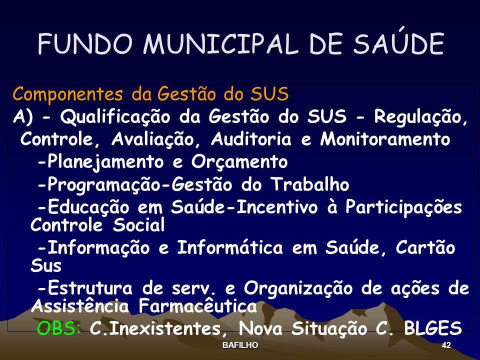 BAFILHO 42 FUNDO MUNICIPAL DE SAÚDE Componentes da Gestão do SUS A) - Qualificação da Gestão do SUS - Regulação, Controle, Avaliação, Auditoria e Moni
