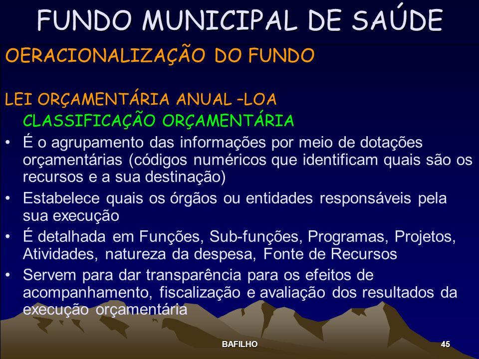 BAFILHO 45 FUNDO MUNICIPAL DE SAÚDE OERACIONALIZAÇÃO DO FUNDO LEI ORÇAMENTÁRIA ANUAL –LOA CLASSIFICAÇÃO ORÇAMENTÁRIA É o agrupamento das informações p
