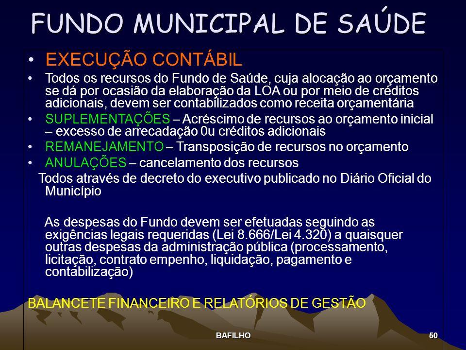 BAFILHO 50 FUNDO MUNICIPAL DE SAÚDE EXECUÇÃO CONTÁBIL Todos os recursos do Fundo de Saúde, cuja alocação ao orçamento se dá por ocasião da elaboração