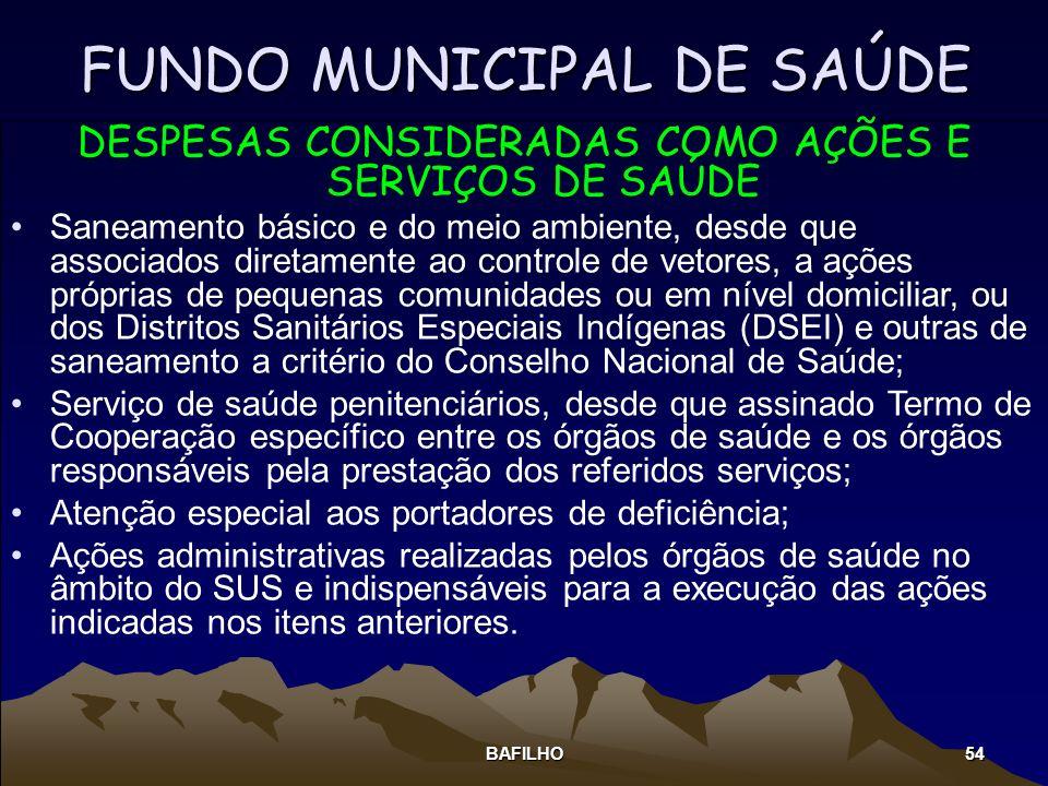BAFILHO 54 DESPESAS CONSIDERADAS COMO AÇÕES E SERVIÇOS DE SAÚDE Saneamento básico e do meio ambiente, desde que associados diretamente ao controle de