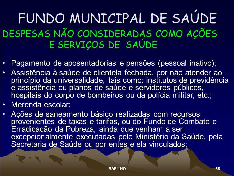 BAFILHO 55 FUNDO MUNICIPAL DE SAÚDE DESPESAS NÃO CONSIDERADAS COMO AÇÕES E SERVIÇOS DE SAÚDE Pagamento de aposentadorias e pensões (pessoal inativo);