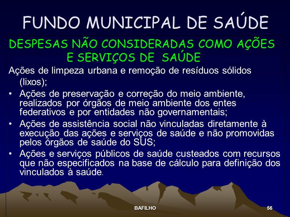 BAFILHO 56 FUNDO MUNICIPAL DE SAÚDE DESPESAS NÃO CONSIDERADAS COMO AÇÕES E SERVIÇOS DE SAÚDE Ações de limpeza urbana e remoção de resíduos sólidos (li
