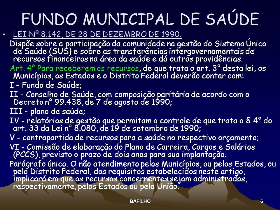 BAFILHO 6 FUNDO MUNICIPAL DE SAÚDE LEI Nº 8.142, DE 28 DE DEZEMBRO DE 1990. Dispõe sobre a participação da comunidade na gestão do Sistema Único de Sa