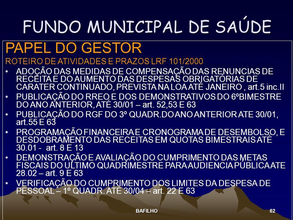 BAFILHO 62 FUNDO MUNICIPAL DE SAÚDE PAPEL DO GESTOR ROTEIRO DE ATIVIDADES E PRAZOS LRF 101/2000 ADOÇÃO DAS MEDIDAS DE COMPENSAÇÃO DAS RENUNCIAS DE REC