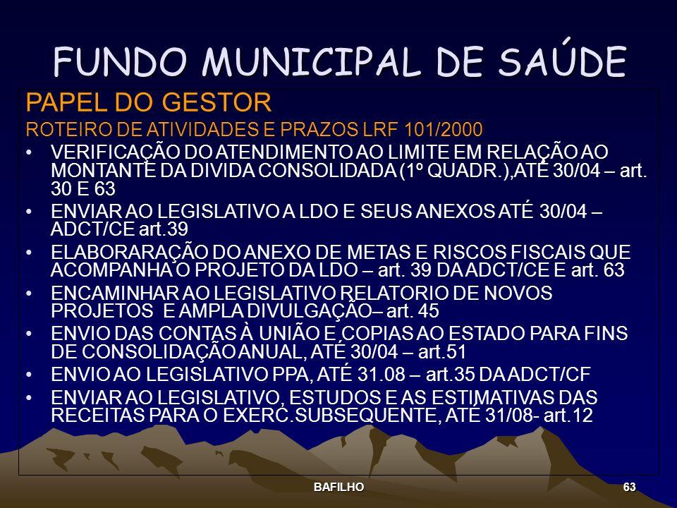 BAFILHO 63 FUNDO MUNICIPAL DE SAÚDE PAPEL DO GESTOR ROTEIRO DE ATIVIDADES E PRAZOS LRF 101/2000 VERIFICAÇÃO DO ATENDIMENTO AO LIMITE EM RELAÇÃO AO MON