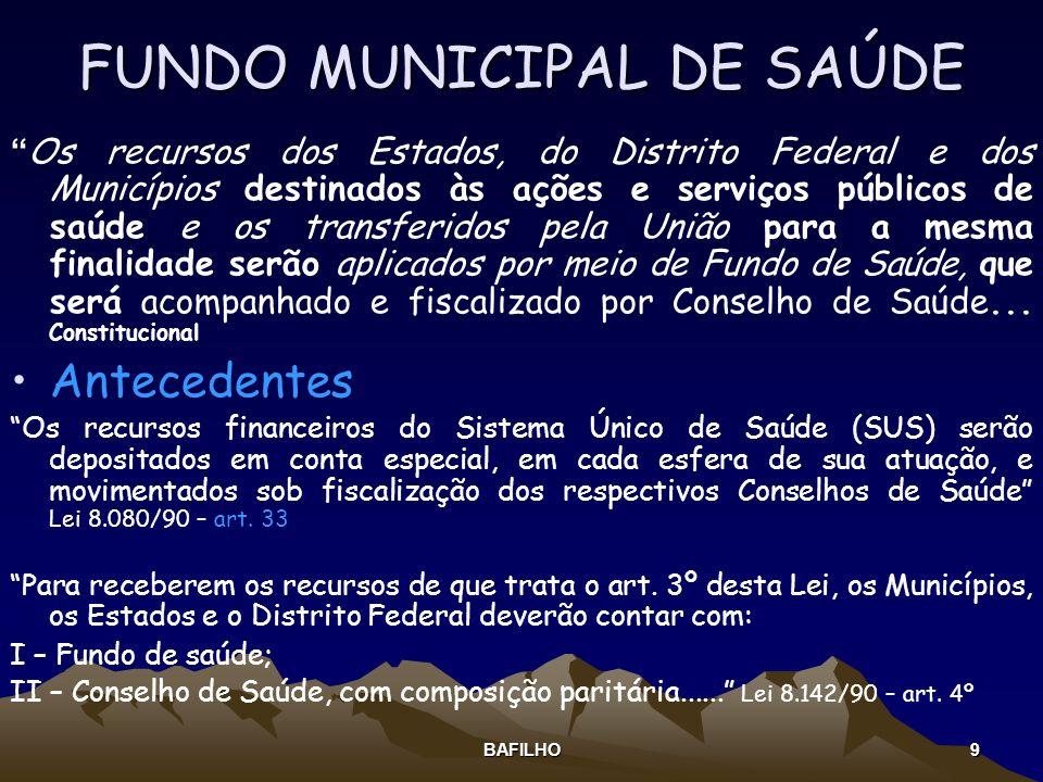 BAFILHO 9 FUNDO MUNICIPAL DE SAÚDE Os recursos dos Estados, do Distrito Federal e dos Municípios destinados às ações e serviços públicos de saúde e os