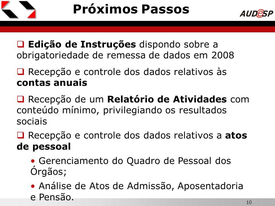 10 Próximos Passos Edição de Instruções dispondo sobre a obrigatoriedade de remessa de dados em 2008 Recepção e controle dos dados relativos às contas