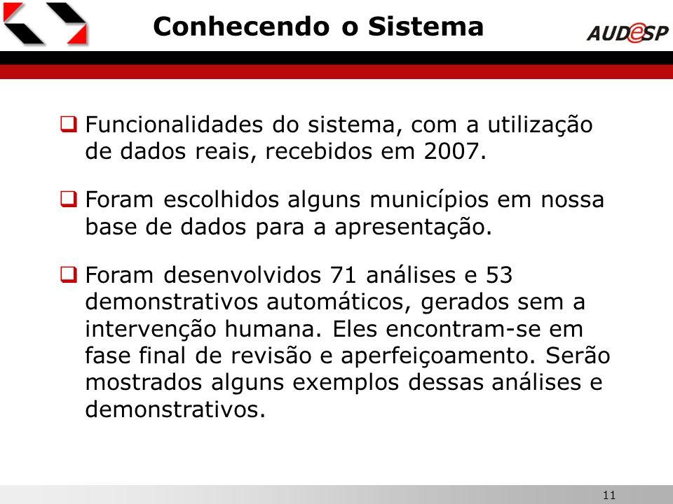 11 X Conhecendo o Sistema Funcionalidades do sistema, com a utilização de dados reais, recebidos em 2007. Foram escolhidos alguns municípios em nossa