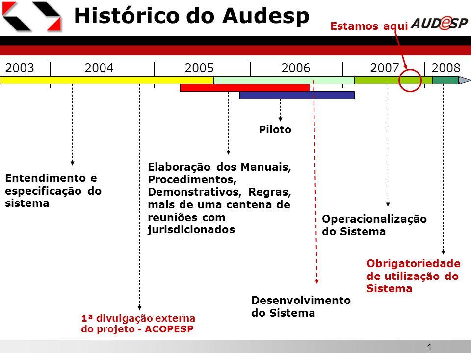 4 Histórico do Audesp 200320042006 Entendimento e especificação do sistema Elaboração dos Manuais, Procedimentos, Demonstrativos, Regras, mais de uma