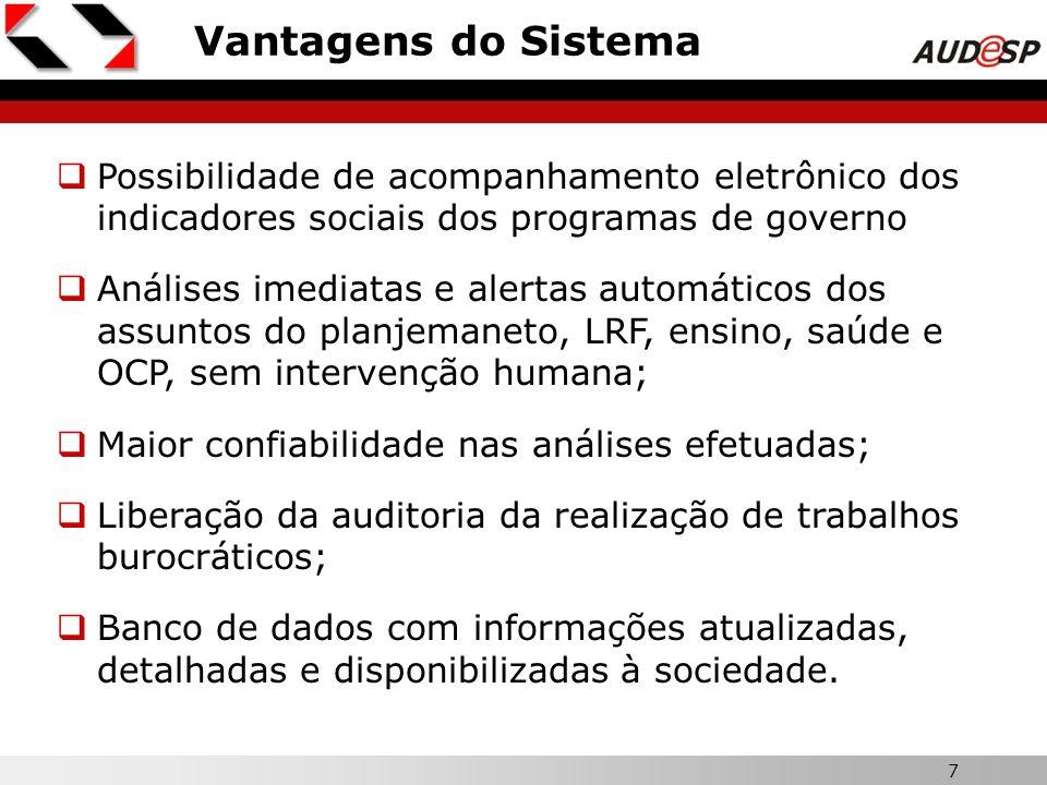 7 X Vantagens do Sistema Possibilidade de acompanhamento eletrônico dos indicadores sociais dos programas de governo Análises imediatas e alertas auto